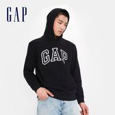 Gap男裝 Logo棉質連帽休閒上衣 567861-純正黑色
