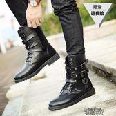 高筒皮靴男士38碼秋季韓版潮流圓頭休閒馬丁靴青少年皮靴子高筒靴 街頭布衣
