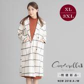 大碼仙杜拉-毛呢格紋口袋長版西裝大衣外套 XL-3XL碼 ❤【USC8745】(預購)