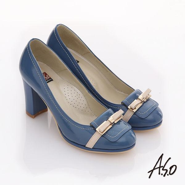 A.S.O 修身美型 鏡面牛皮立體蝴蝶高跟鞋 藍色