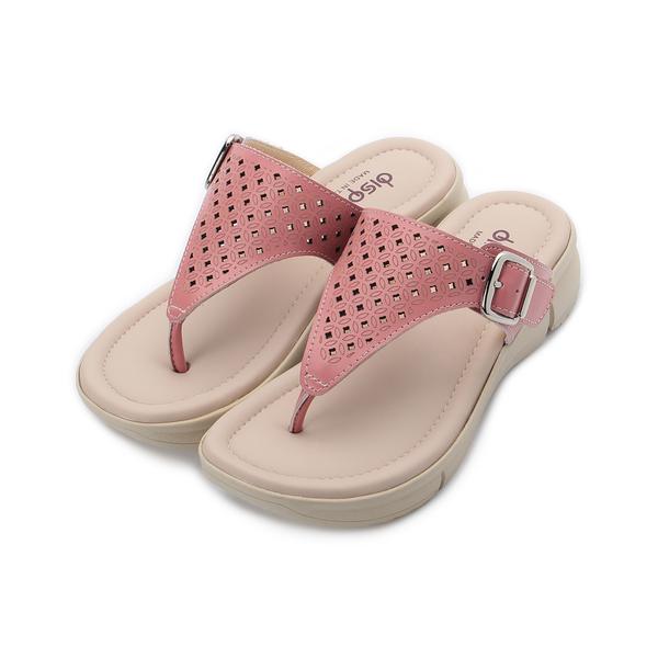 鏤空皮釦夾腳拖鞋