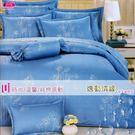加大【薄被套+薄床包】(6*6.2尺)/高級四件式100%純棉雙人『逸動情緣』(藍/紫)☆*╮