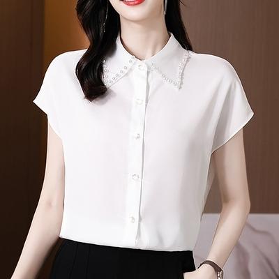 涼感上衣~短袖襯衫~襯衣女短袖重工釘珠緞面襯衫NE241B日韓屋