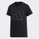 Adidas FUTURE 女裝 短袖 T恤 彩色線條LOGO 側開衩 棉質 黑【運動世界】GP0675