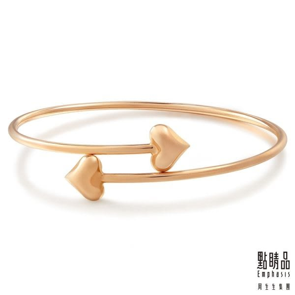 點睛品 Wrist Play 18K玫瑰金雙心手環/手鐲