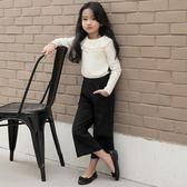 618好康又一發女童休閒褲2018春季新款兒童褲子寶寶直筒寬腿褲中大童七分闊腿褲