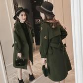 長款外套女 流行呢子大衣女秋冬裝新品韓版中長款小蜜蜂刺繡加厚毛呢外套