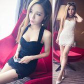 中大尺碼 夜場性感女裝2018夏新款韓版修身氣質低胸掛脖蕾絲禮服連衣裙 AD761『時尚玩家』