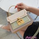 撞色包包上新高級感洋氣包包女包2021新款時尚質感撞色側背斜背鍊條小方包 JUST M