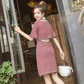 裙子夏女2018新款韓版氣質露背條紋修身喇叭袖圓領針織A字洋裝