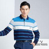 【Emilio Valentino】彈性棉質保暖吸濕排汗POLO衫 - 藍