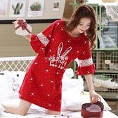 夏季短袖純棉睡裙女中長款紅色薄款全棉性感睡衣迷人連衣裙可外穿
