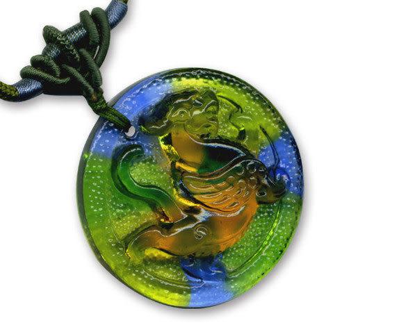 鹿港窯~居家開運水晶琉璃項鍊~貔貅 附精美包裝◆免運費送到家