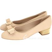 Salvatore Ferragamo VARA SHINE金珠飾粗跟鞋(膚色) 1711039-28