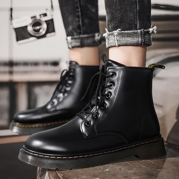 男靴 靴子男2020新款冬季韓版時尚潮流內增高加絨保暖皮靴高幫馬丁靴男