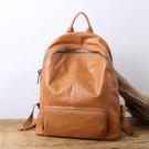 【Solomon 原創設計皮件】全真皮拉鍊後背包 中性男女牛皮背包 五色旅行包袋