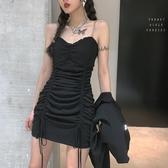 暗非黑抹胸吊帶洋裝女2020新款緊身包臀裙抽繩褶皺性感心機裙子-鹿角巷