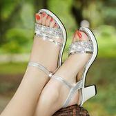 尾牙年貨 粗跟涼鞋女中跟魚嘴鞋小清新高跟鞋正韓
