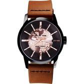RELAX TIME RT62系列 人動電能地球腕錶-玫塊金x咖啡45mm RT-62K-7