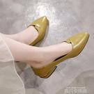 大東粗跟單鞋女2020新款夏季百搭尖頭女鞋低跟淺口潮流休閒小皮鞋 依凡卡時尚