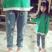 *╮S13小衣衫╭*小中大童個性彩色塗鴉印花休閒牛仔褲1070907