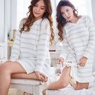 高科技毛線  簡約條紋睡衣-睡裙(兩色:白底藍條、藍底白條)-保暖、居家服_蜜桃洋房
