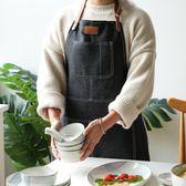 圍裙川島屋 日式牛仔創意布藝圍裙正韓時尚面包店廚房家居半身圍裙(1件免運)