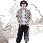 BIG TRAIN 達摩印花短袖襯衫上衣-男-白/深藍-B70118
