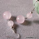 民族粉晶寶石新鮮民族風水晶女耳環