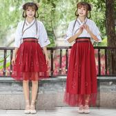 古風女裝漢服襦裙中國風古裝服裝學生仙女裝清新淡雅廣袖日常改良古風夏裝/