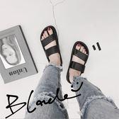 限時85折下殺拖鞋女韓版韓國ulzzang風復古雙帶拖鞋女夏外穿學生厚底一字沙灘涼拖鞋