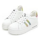 PLAYBOY經典皮革 輕量厚底小白鞋-白彩(Y6800)