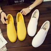 夏季帆布鞋男透氣百搭 一腳蹬懶人白色布鞋潮男鞋子 米娜小鋪