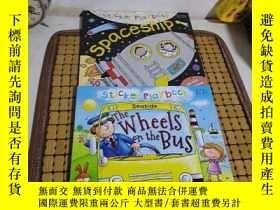 二手書博民逛書店Sticker罕見playbook :《Spaceship》《THE WHEELS ON THE BUS》2冊合售