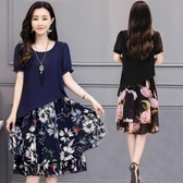 大碼洋裝 2019春夏季韓版新款微胖mm遮肚子短袖中長女裝