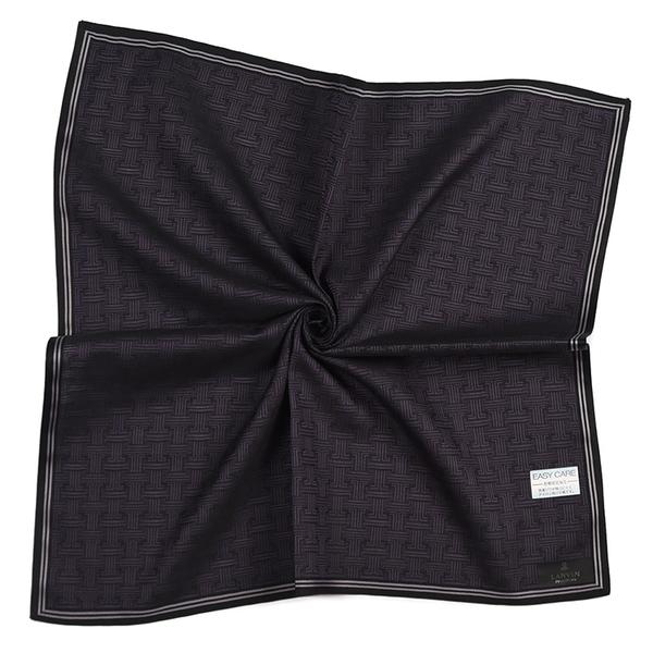 LANVIN浪凡品牌織紋男士純綿帕巾(紫黑色)989034-2