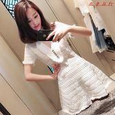 V領白色裙子女裝裝韓版收腰針織連身裙