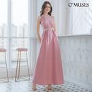 OMUSES 削肩簍空緞伴娘晚宴訂製粉色長禮服