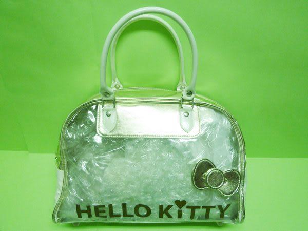 【震撼精品百貨】Hello Kitty 凱蒂貓~透明手提袋『金/粉』(共兩款)