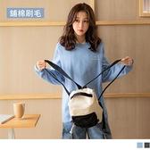 《AB14442-》台灣製造。保暖內刷毛英字印花長袖衛衣大學T上衣 OB嚴選