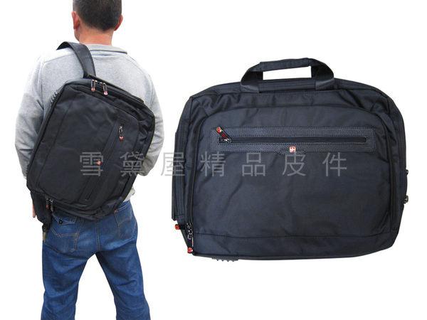 ~雪黛屋~OVER LAND 文件包中大容量二層主袋公事包可放14吋電腦多功能可後背手提肩斜背附長背帶T3098