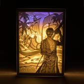 雙12購物節   海賊王路飛喬巴山治索隆艾斯羅賓手辦周邊光影紙雕燈臺燈  mandyc衣間