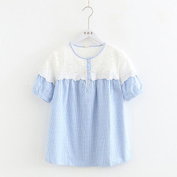 M上衣 藍條拼接肩蕾絲-月兒的綺麗莊園