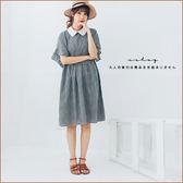 洋裝  配色領背綁帶荷葉袖格紋棉麻洋裝    單色-小C館日系