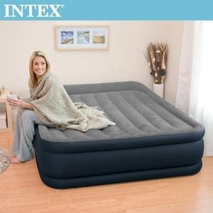 INTEX豪華三層圍邊內建幫浦充氣床-寬152cm-灰色(64135)