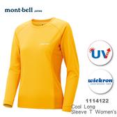 【速捷戶外】日本 mont-bell 1114122 WICKRON 女長袖排汗T(金雀黃),柔順,透氣,排汗, 抗UV,montbell