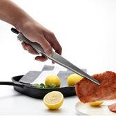 PUSH!廚房用品304不鏽鋼40個圓角細齒食品夾牛排夾麵包夾烘焙燒烤夾子D175