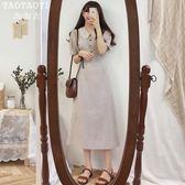 洋裝 復古氣質格子連身裙中長款娃娃領繫帶收腰過膝裙 超值價