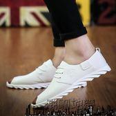 夏季新款鞋子男透氣白色豆豆皮鞋英倫休閒鞋韓版板鞋百搭青年潮鞋【潮咖地帶】