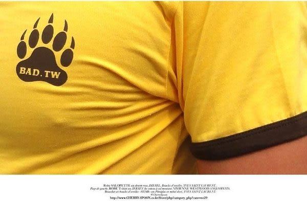 奢華壞男《 熊掌限量款 - 舒適彈性剪裁合身T恤 (黃底滾咖啡邊) 》【S / M / L / XL / XXL】(潮T、上衣)